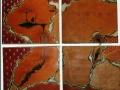 Quadriptyque 130 x 110cm, pigments et terres sur toiles