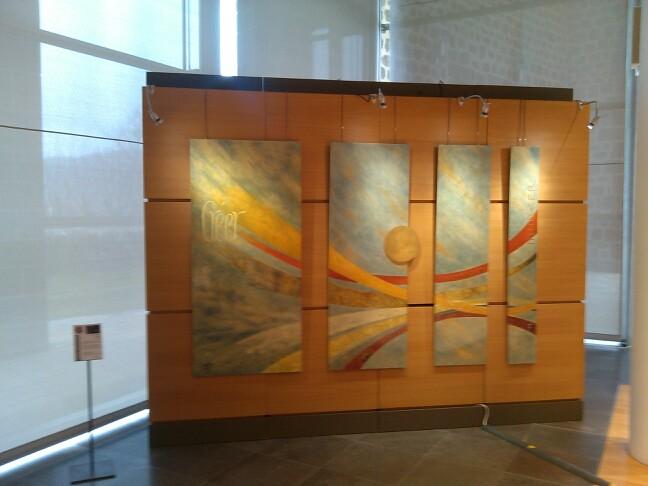 Quadriptyque en laque sur panneaux medium, 250 x 175cm